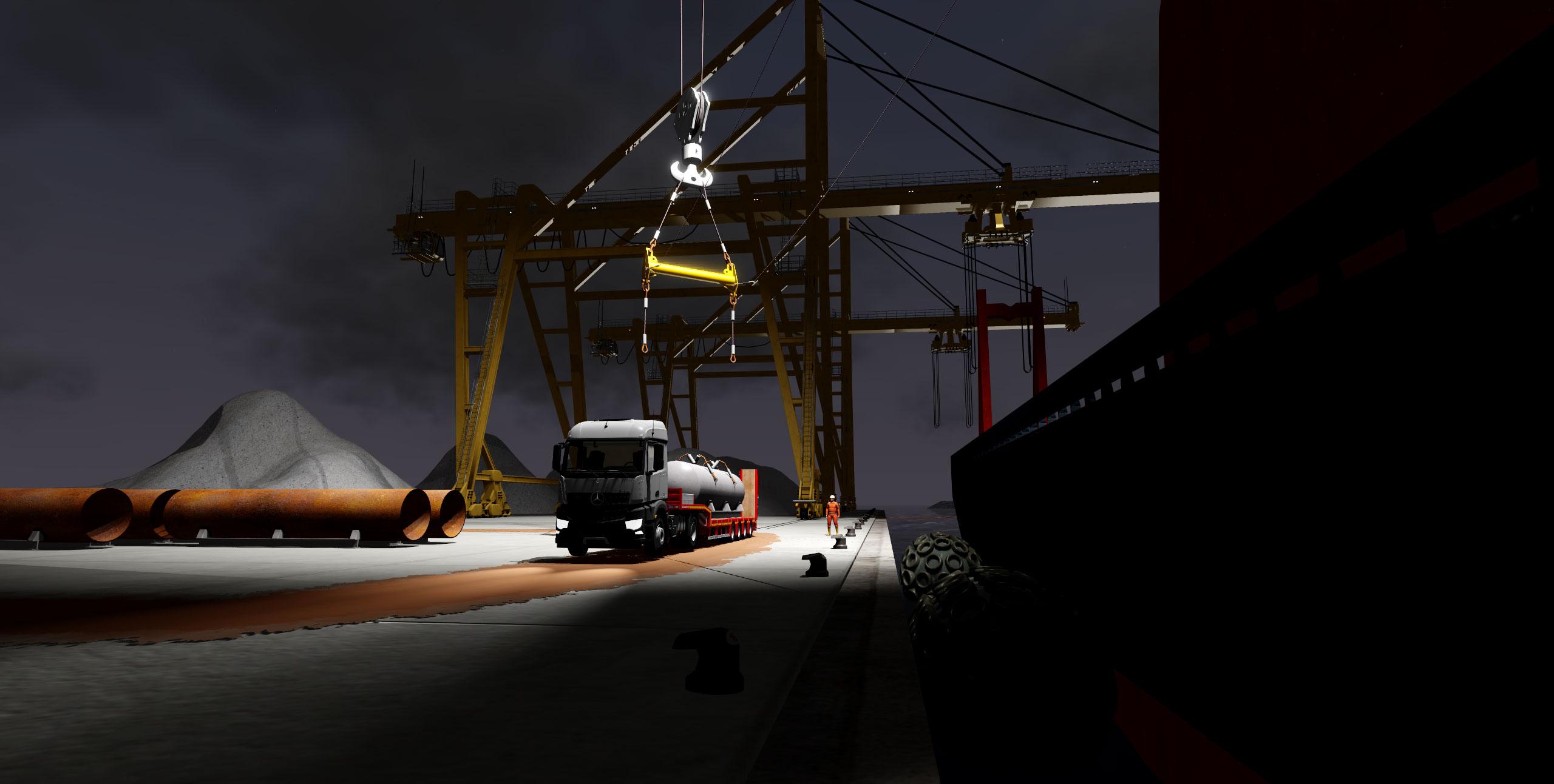 heavy lift demo scenario pipe transfer night